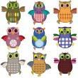 Stock Vector: Set of the owls