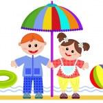 Children on the beach — Stock Vector