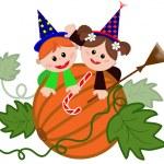 Children on the pumpkin — Stock Vector #26706373