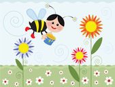 Bee on the meadow — Stock Photo