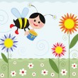 Bee on the meadow — Stock Vector