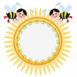 Stock Vector: Round frame with bees