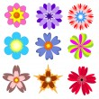 Flowers set. — Stock Vector