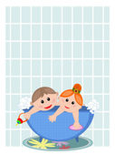 Children in the bath. — Stock Vector