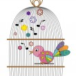 Birdcage with bird. — Stock Vector