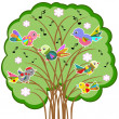 Stock Vector: Birds on the tree, vector..