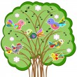 Birds on the tree, vector.. — Stock Vector