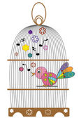 Birdcage with bird. — Stockvektor