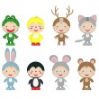 Children in the costumes of the animals — Stock Vector