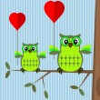 Valentine card with owls — Stok Vektör #30958535