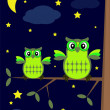 Owls in the night — Imagen vectorial