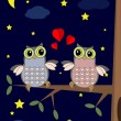 Valentine card with owls — Stockvectorbeeld