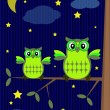 Vector de stock : Owls in night