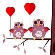 Valentine card with owls — Imagen vectorial