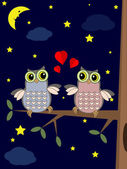Valentine card with owls — Vecteur