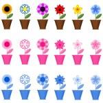 Flowers in the pots, set . — Stock Vector #32756245