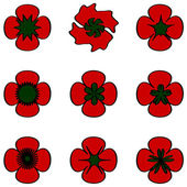 Poppies set — Stock Photo