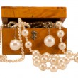 Photo: Pearl jewelry in retro wooden box isolate on white
