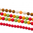 Pearl colorful wooden bead jewelry chain on white — Photo #12616700