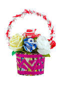 Artificial paper roses in basket isolated on white — Foto de Stock