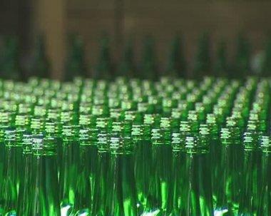 Lotes de garrafa verde sendo preparado para embalagem na fábrica. — Vídeo stock