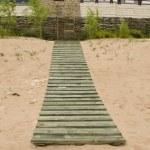 Seaside wooden plank path house weaven fence — Stock Photo #13135499