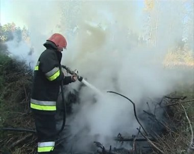Uniformed firefighter with the hose in the hands fighting fire. — Stock Video