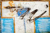 Background of white wall painted graffiti — Stock Photo