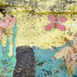 Royalty-Free Stock Photo: Concrete wall colorful paint with butterflies