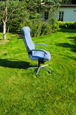 Boss chief office chair in garden lawn grass cut — Stock Photo