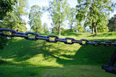 Rusty steel chain and green mound blurred — Stock Photo