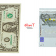 Stock Photo: Concept compare USD dollar and Europeeuro money