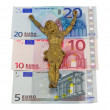 Stock Photo: Concept gold jesus crucify euro banknotes isolated
