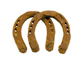 Retro rusty pair of horseshoes isolated on white — Stock Photo