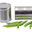 Pickled preserve pease tin can pot fresh one shell — Stock Photo