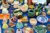 Children handmade pottery tableware dish decor — Foto Stock