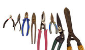 Cut tools pincers tongs collection on white — Stock Photo