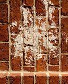 Ročník špinavá červená cihlová zeď pozadí closeup — Stock fotografie