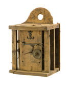 Retro wooden clock box mechanism residue isolated — Photo
