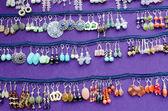 Handmade decorative earring jewelry sell fair — Stock Photo