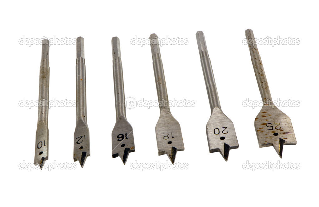 Specific various size metallic drill bits for wood with numbers isolated on white background  — Stock Photo #14731215