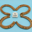 Stock Photo: Clover retro horse shoes gamble dice on blue