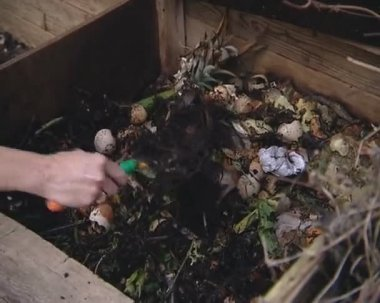 Compost, etensresten en andere in houten compost vak. — Stockvideo