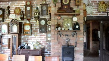 Vintage different clock collection set museum exhibition room — Stock Video