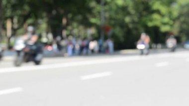 Rozostření motorkář motocyklu — Stock video