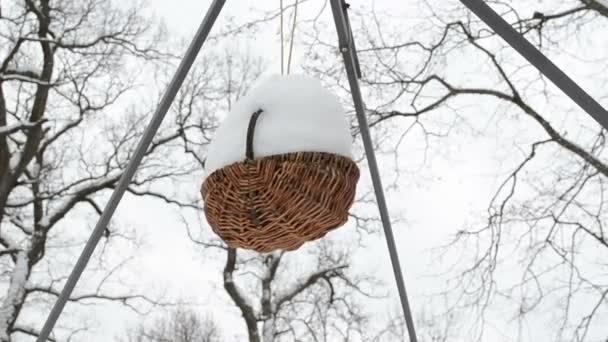 Invierno de nieve de la cesta de mimbre — Vídeo de stock