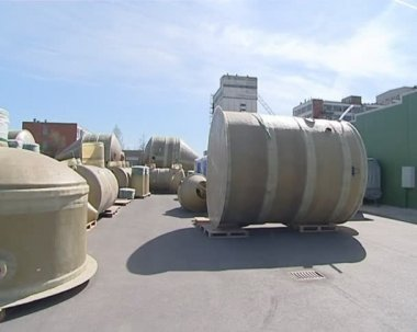 Equipment used in wastewater cleaning. protect environment. — Stock Video