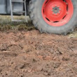 Stock Video: Tractor field furrow plow