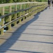 Stock Video: Couple cyclist bridge