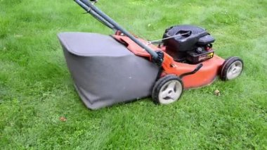 Worker push grass mower — Stockvideo